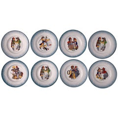 Set of Eight Faïence Plates, Children Dressed in Napoleon Army Costumes