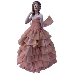 French Antique Hand-Painted Boudoir Doll Lamp with Pink Taffeta Dress, 1800s