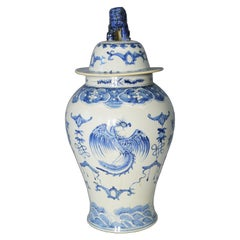 Chinese Vintage Hand-Painted Blue and White Porcelain Vase with Dragon