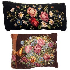 Two French Embroidered Throw Pillows in Floral Design with Velvet Backing, 1950s