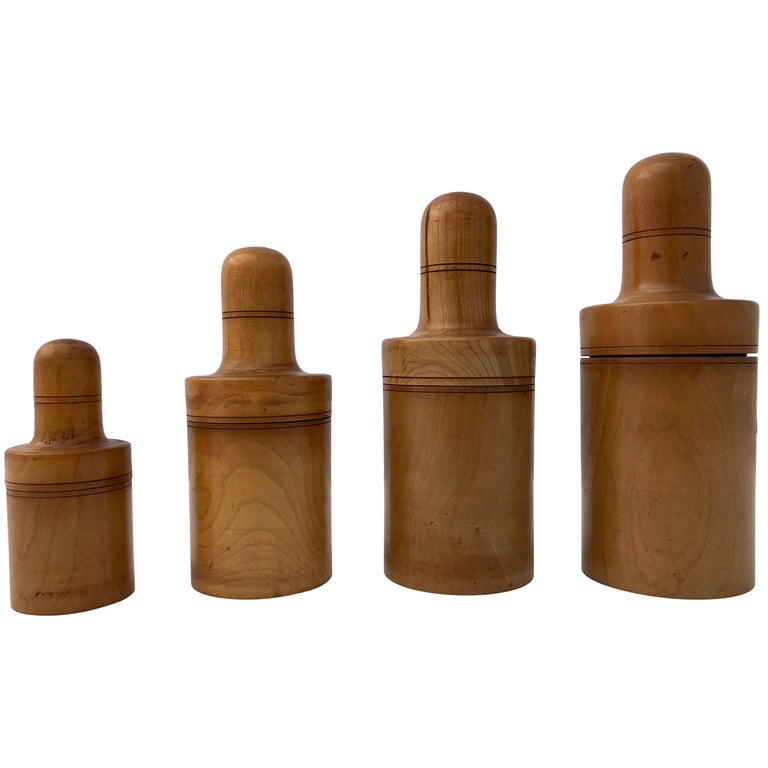 French Apothecary Boxwood Treen Boxes with Glass Bottles 1800s, 11 Pieces