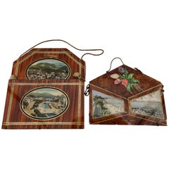 French Souvenir Wall Hanging Letter Holders, Early 1900s Set of Two