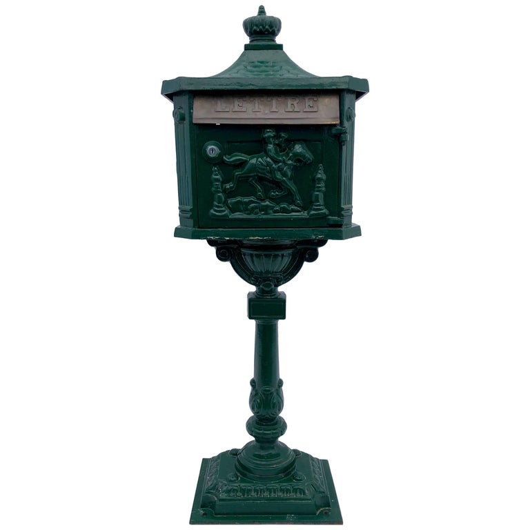 """French Antique Cast Iron Standing Mailbox with Slot Marked """"Lettres"""" 1900s"""