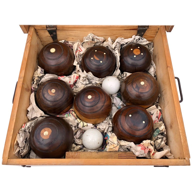 Box Containing 8 Lignum Vitae Wood Lawn Bowling Balls with 2 Kitties Early 1900s