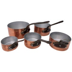 Five French Professional Grade Graduated Copper Pans, Wrought Iron Handles