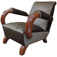 Art Deco 1950 Mahogany and Fabric Chairs Armchair