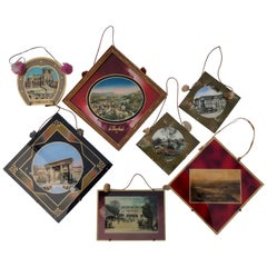 Framed French Colorized Souvenir Photos, Set of Seven Frames with Glass, 1950s