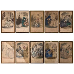 Collection of French Colored Engravings of Fashion Dresses Set of Ten, Mid-1800s