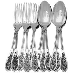 Puiforcat French Sterling Silver Dinner Flatware Set 12-Piece, Moderne