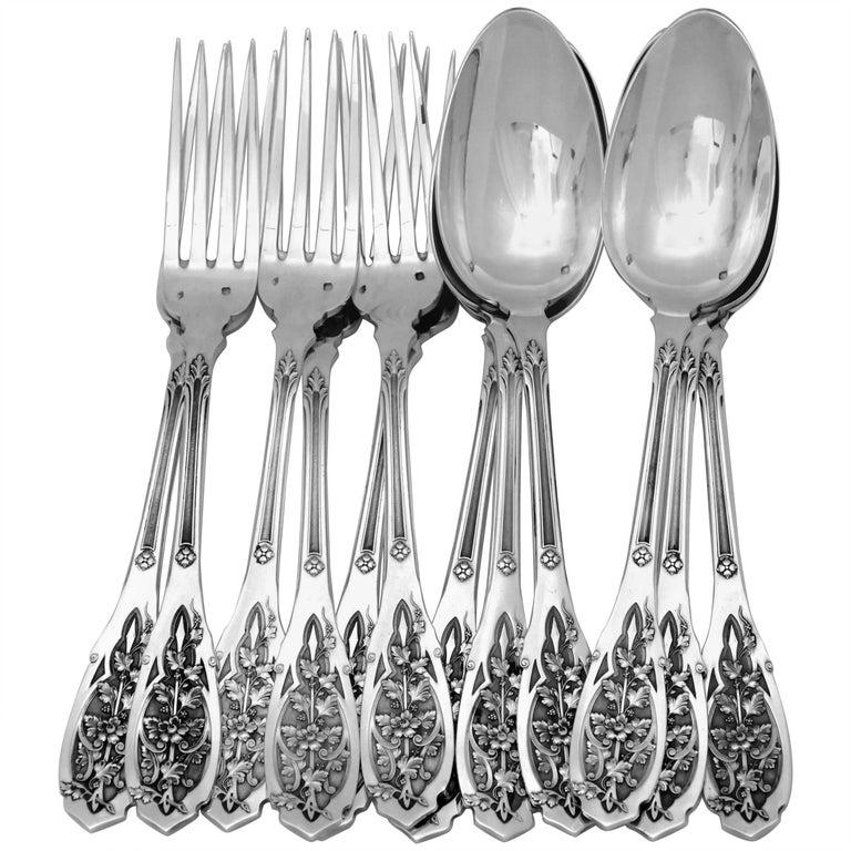 Puiforcat French Sterling Silver Dinner Flatware Set 12-Piece, Moderne