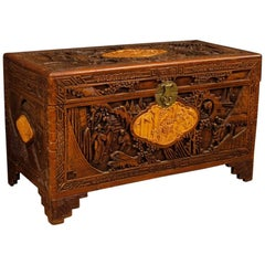 Chinese Trunk in Carved and Chiselled Wood with Oriental Landscapes and Figures