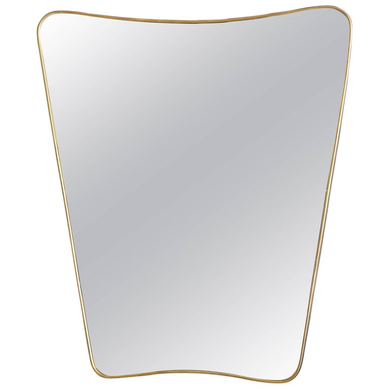 Vintage Italian Brass Mirror For Sale