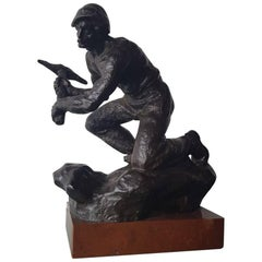 Mid-20th Century Patinated Bronze Miner Signed Fojitk