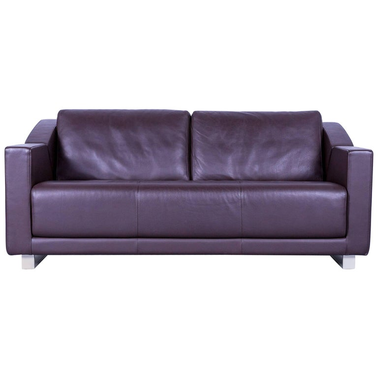 Rolf Benz 350 Designer Sofa Broen Two-Seat Leather Couch
