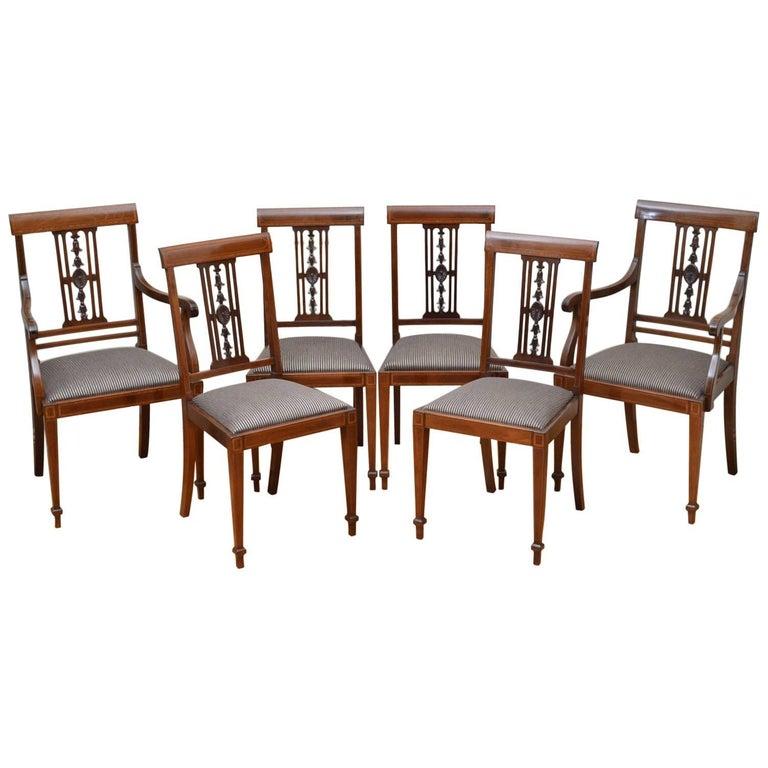 Set of Six Edwardian Mahogany Dining Chairs