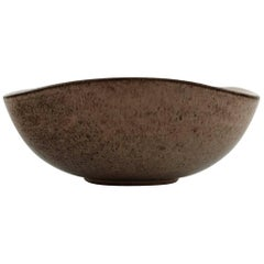 Helge Østerberg Ceramic Bowl in Speckled Glaze, Interior in Dark Blue