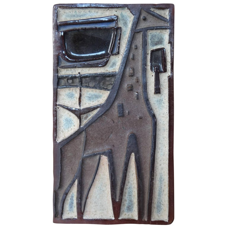 20th Century Amphora Ceramic Wall Plaque of a Giraffe, Signed
