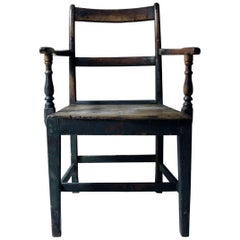 Welsh Provincial Green Painted Open Armchair, circa 1830-1840