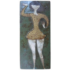 20th Century Amphora Ceramic Wall Plaque of a Dancing Girl, Labeled