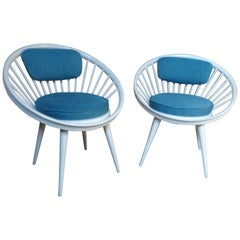 Classic 20th Century Yngve Ekström 1960s Circle Chairs, Designed for Swedese