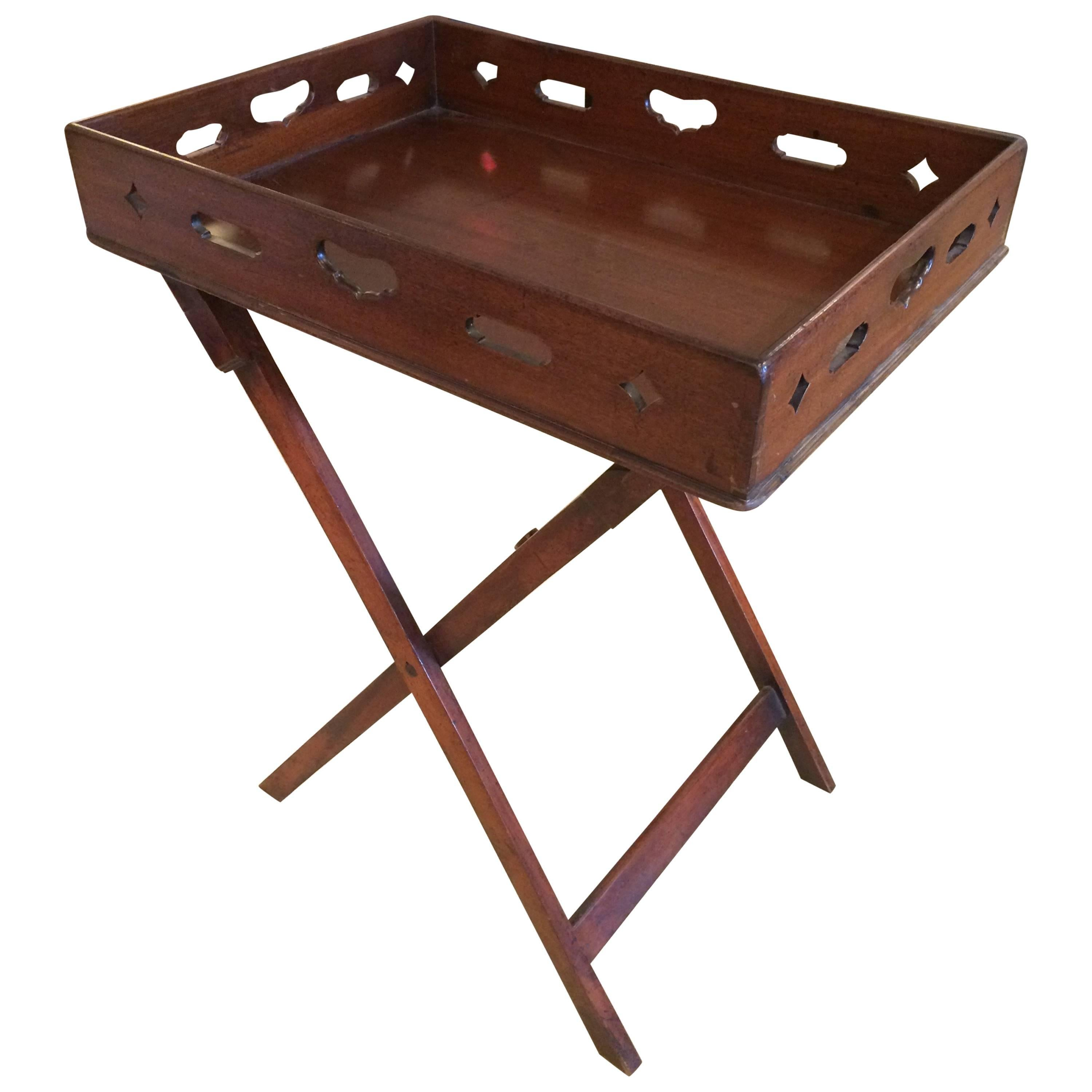 Handsome English Traditional Mahogany Butlers Tray Table or Bar
