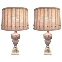 Elegant Pair of Marble Table Lamps