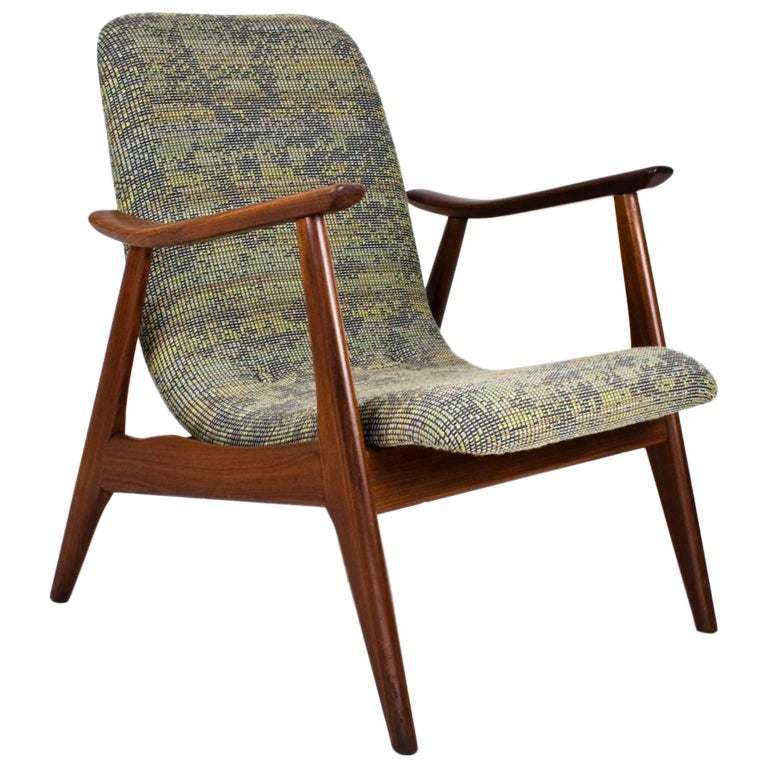 Mid Century Modern Lounge Chair By Louis Van Teeffelen 1950s For