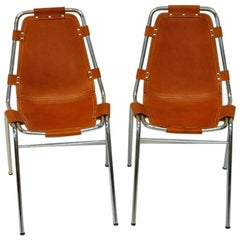 "Leather Chairs Two Pieces ""Les Arcs Vintage"" by Charlotte Perriand, France"