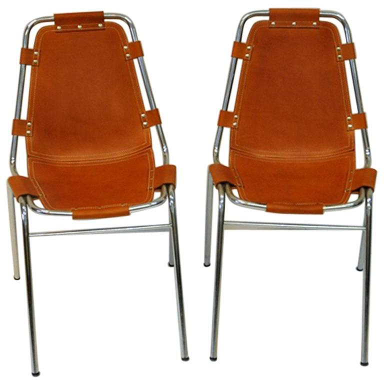 """Leather Chairs Two Pieces """"Les Arcs Vintage"""" by Charlotte Perriand, France"""