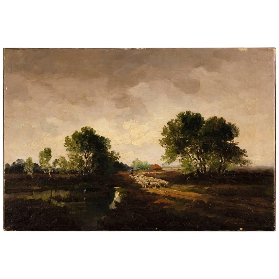 Dutch Signed Painting Oil on Canvas Landscape Shepherd and Sheep, 20th Century