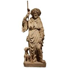 Saint Roch or Rocco, Unique Original Terracotta Statue, France, 18th Century