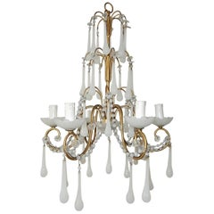 1930 French White Opaline Bobeches, Beads and Drops Chandelier