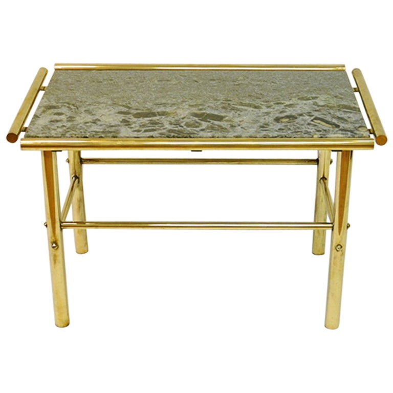 Marble And Brass Rectangular Vintage Table, 1960s