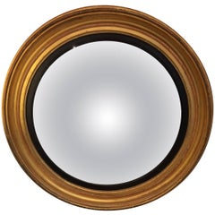 19th Century Giltwood Round Neoclassical Convex Mirror