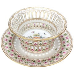 Antique Dresden Porcelain Reticulated Fruit Basket and Stand by Adolf Hamann