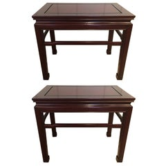 Elegant Traditional Pair of Mahogany End Tables