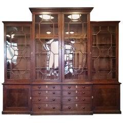 18th Century George III Period Mahogany Antique Breakfront Bookcase