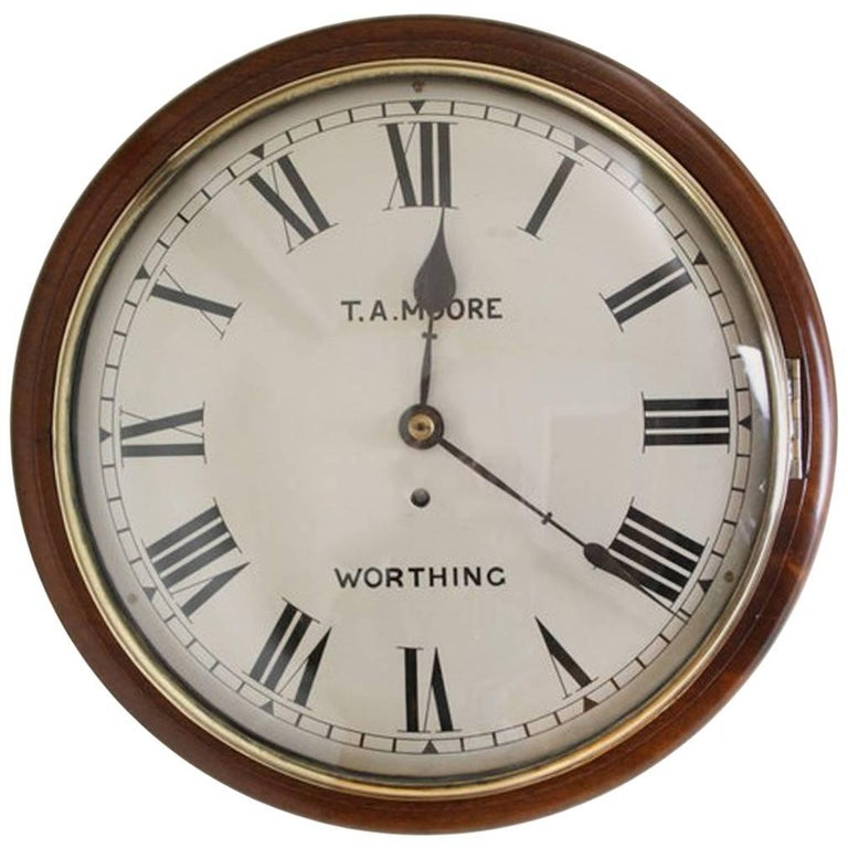 Exceptional Victorian Wall Clock Large Mahogany Clock For
