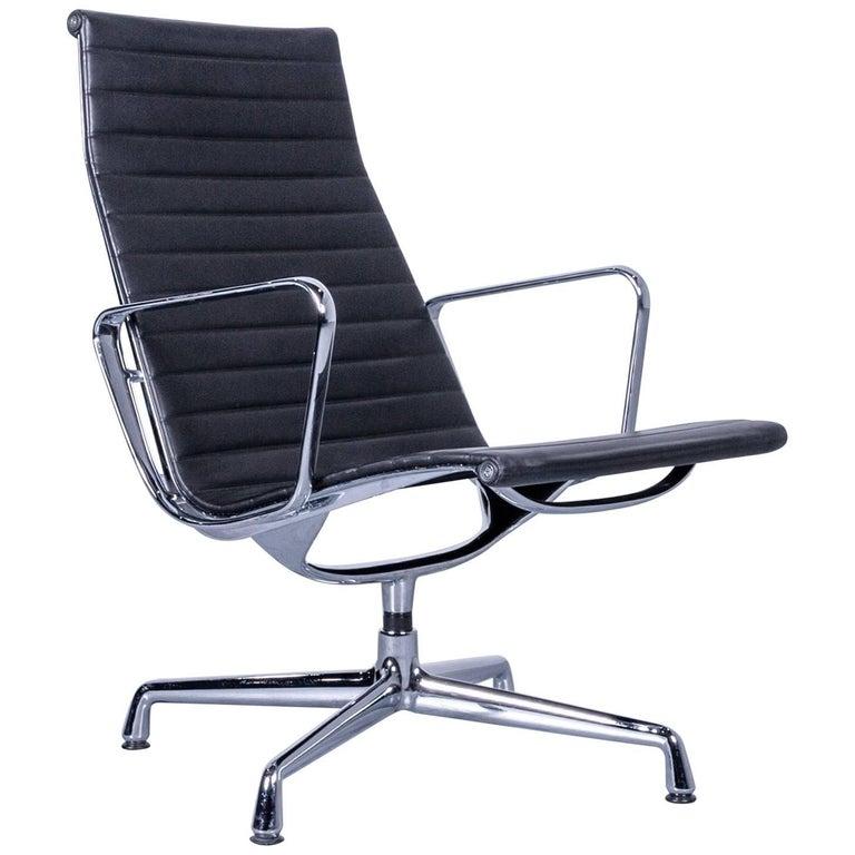 vitra ray and charles eames ea 108 armchair leather black aluminium