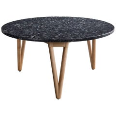 Hair Pin Coffee Table 32, Round, Maple Hardwood, Polished Granite