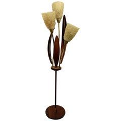 Mid-Century Modern Walnut Brass Spaghetti Three-Way Floor Lamp