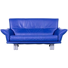 Rolf Benz Bmp Designer Sofa Leather Blue Two-Seat Couch Modern