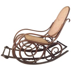 Early 20th Century, Thonet Caned Rocking Chair