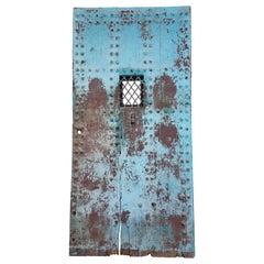 Old Rabat Turquoise Moroccan Door - Window