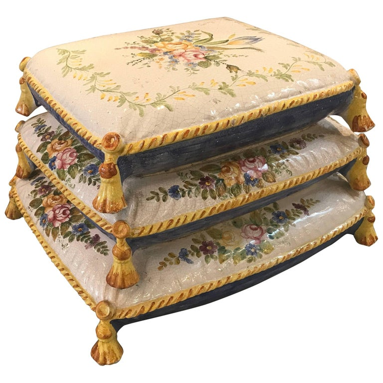 French Faience Pillow Form Garden Seat