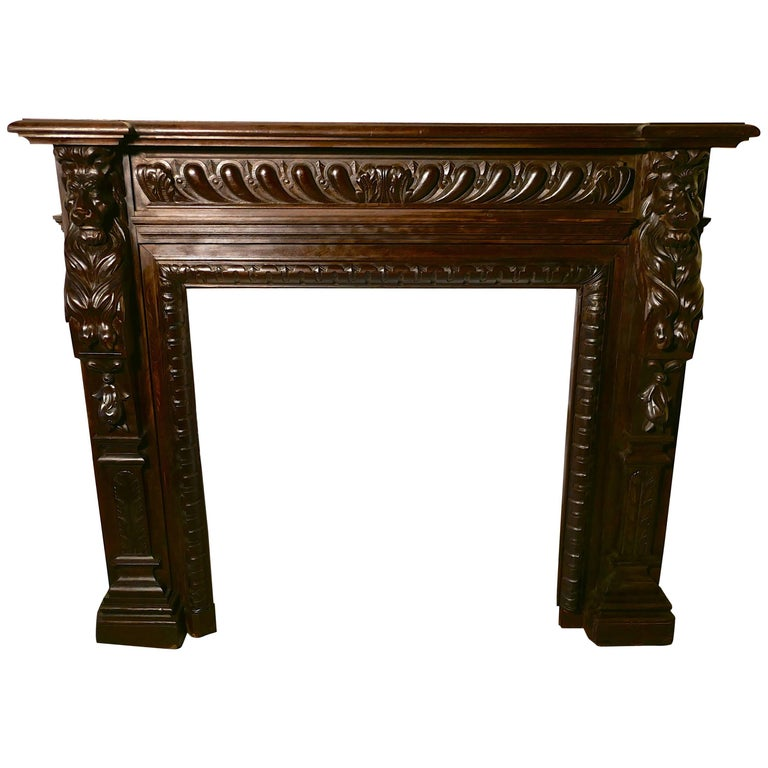 19th Century Gothic Lions Mask Carved Oak Fire Place