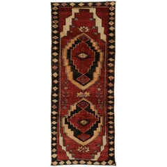 Vintage Turkish Oushak Runner with Tribal Style, Hallway Runner
