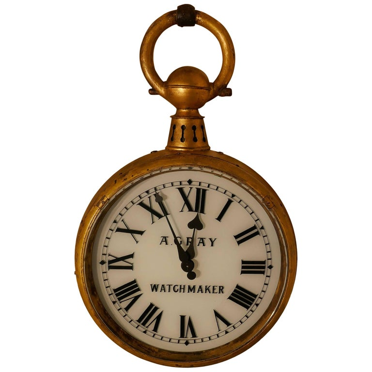 Watch Makers Shop Trades Sign, Giant Pocket Watch