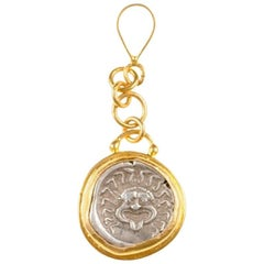 Ancient Greek Coin Artfully Set in 22-Karat Gold Drop Style Necklace Pendant