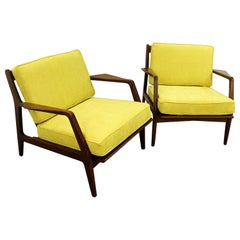 Pair of Midcentury IB Kofod Larsen Style Open Arm Walnut Lounge Chairs